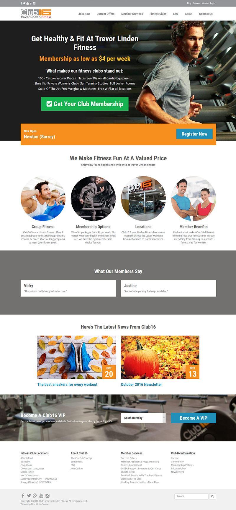 Club16 Fitness Website Design