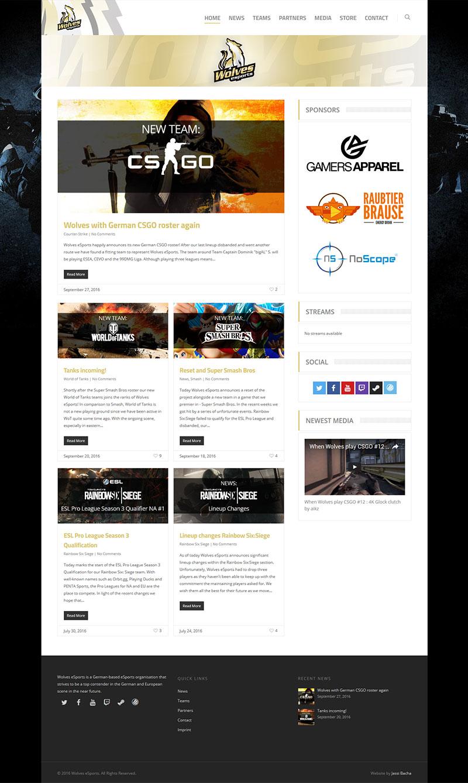 Wolves Esports Web Design